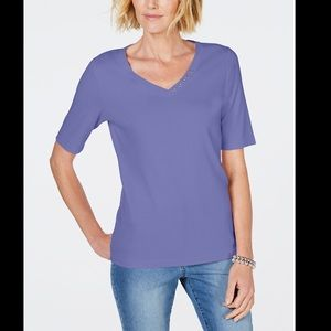 KAREN SCOTT COTTON V NECK T-SHIRT